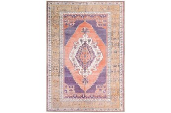 91X118 Rug-Scarlett Persian Medallion Purple