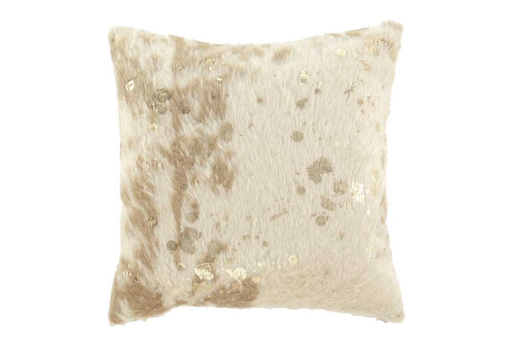 Accent Pillow-Faux Fur Metallic Accents Cream/Gold 18X18