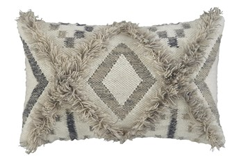 Accent Pillow-Diamond Design Natural/Black 22X14