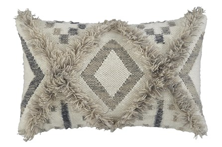 Accent Pillow-Diamond Design Natural/Black 22X14 - Main