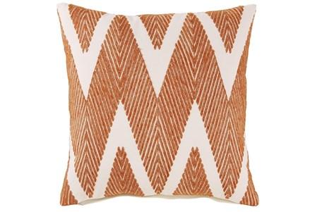 Accent Pillow-Chevron Chain Stitch Orange 20X20 - Main