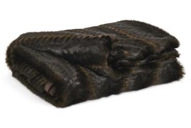 Accent Throw-Woven Faux Fur Dark Brown/Black