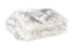 Accent Throw-Faux Fur White With Black Fringe