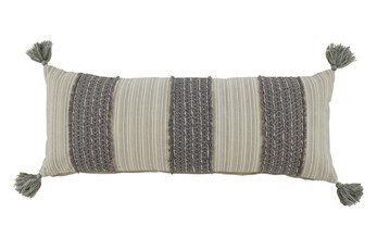 Accent Pillow-Vertical Stripe Gray/Cream 36X14