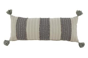 Accent Pillow-Vertical Stripe Gray/Cream 36X14