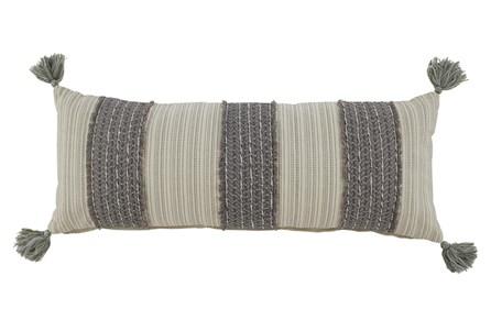 Accent Pillow-Vertical Stripe Gray/Cream 36X14 - Main