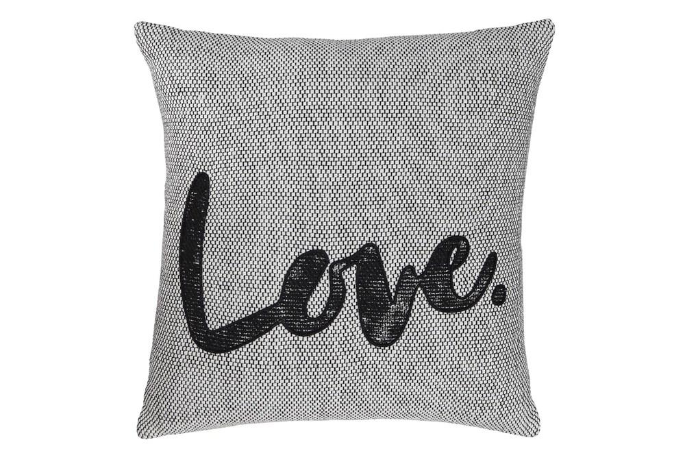 Accent Pillow-Love White/Black 18X18