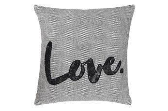 Accent Pillow-Love White/Black 18X18