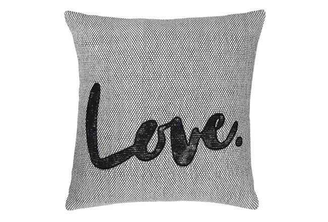 Accent Pillow-Love White/Black 18X18 - 360