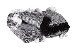 Accent Throw-Fringed Texture Black/White