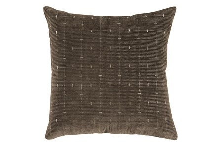 Accent Pillow-Embroidered Grid Brown/Gold 20X20 - Main