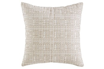 Accent Pillow-Embroidered Grid Cream/Sand 20X20