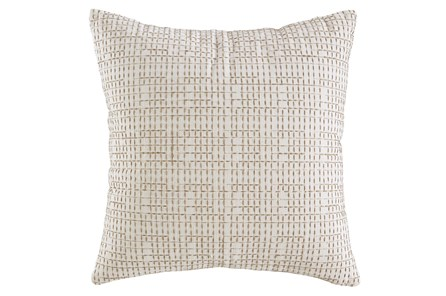 Accent Pillow-Embroidered Grid Cream/Sand 20X20 - Main