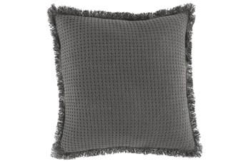 Accent Pillow-Basket Woven Fringer Gray 20X20