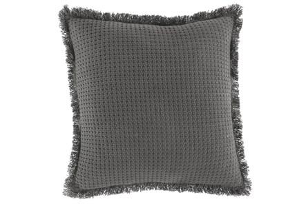 Accent Pillow-Basket Woven Fringer Gray 20X20 - Main