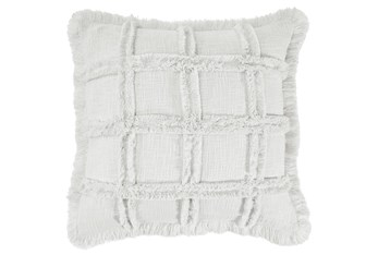 Accent Pillow-Duck Cloth With Embroidery + Fringe Ivory 20X20