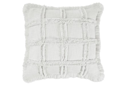 Accent Pillow-Duck Cloth With Embroidery + Fringe Ivory 20X20 - Main