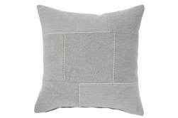 Accent Pillow-Duck Cloth With Embroidery + Tufting Gray/Cream 20X20