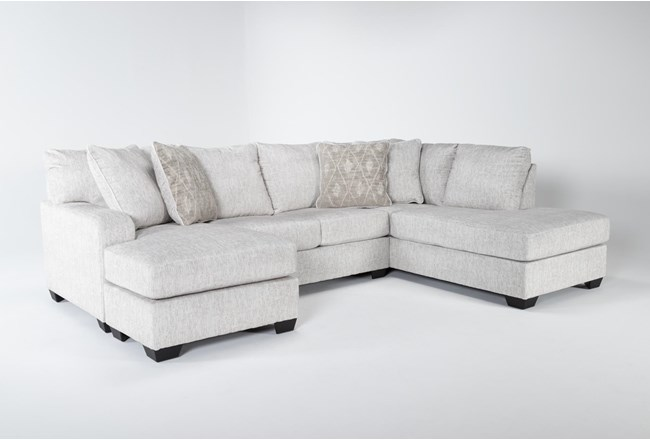 "Cambrie 124"" 2 Piece Dual Chaise Sectional With Left Arm Facing Sofa Chaise - 360"
