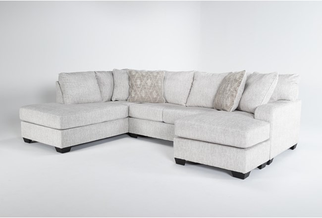 """Cambrie 124"""" 2 Piece Dual Chaise Sectional With Right Arm Facing Sofa Chaise - 360"""