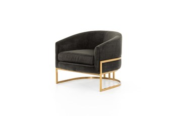Smoke Velvet + Satin Brass Chair