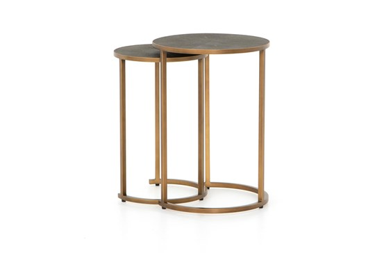Shagreen Nesting Table-Antique Brass