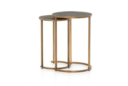 Shagreen Nesting Table-Antique Brass