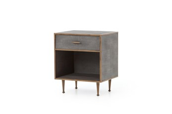Shagreen Bedside Table-Antique Brass