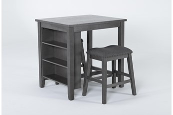 Cate Antique Gray 3 Piece Counter Height Set