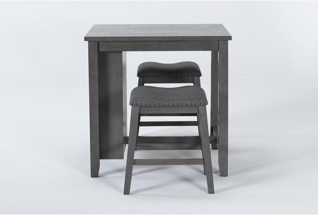 Cate Antique Gray 3 Piece Counter Height Set - 360