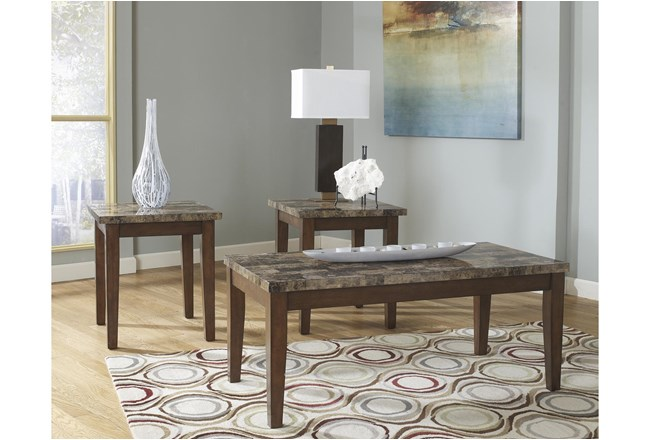 Ted Warm Brown 3 Pc Occasional Table Set   - 360