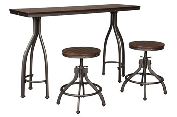 Otis Rustic Brown 3 Piece Counter Heigth Set