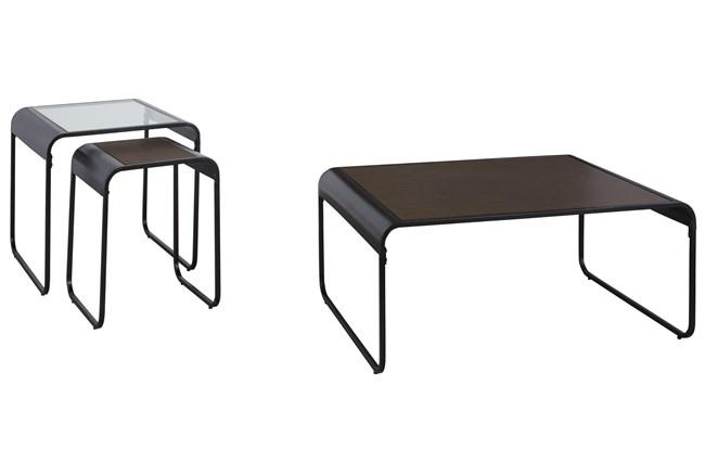 Lang Brown/Black 3 Pc Occasional Table Set  - 360