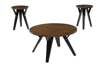 Ledger Two-Tone Brown 3 Piece Occasional Table Set