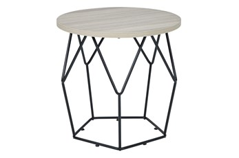 Lowell Light Brown/Black Round End Table