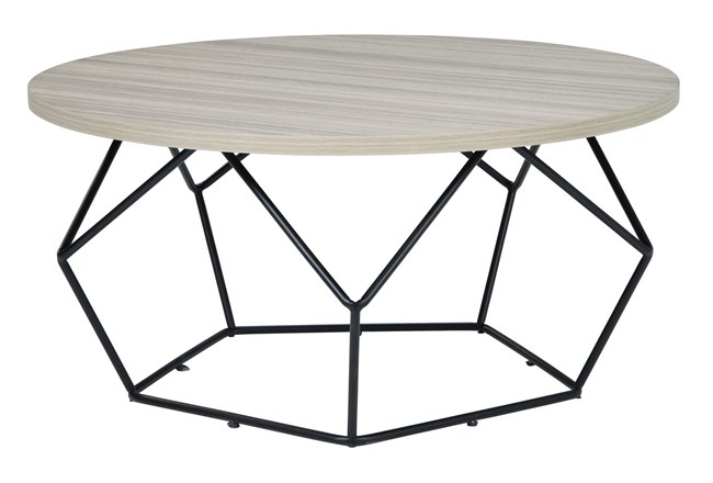 Lowell Light Brown/Black Round Cocktail Table - 360
