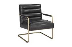 Black Faux Leather Cantilever Chair