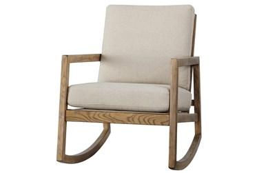 Mid Century Linen Accent Rocking Chair
