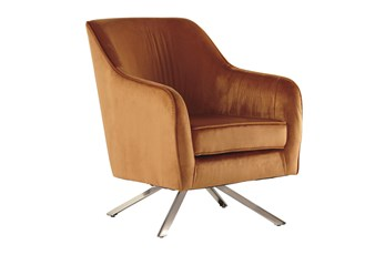 Orange Swivel Accent Chair
