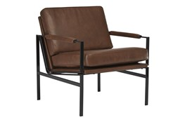 Brown Faux Leather Mid Century Accent Chair