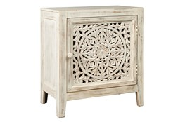 White Wash Carved Cabinet