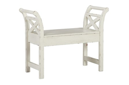 White Small Accent Bench - Main