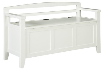White Wash Storage Bench