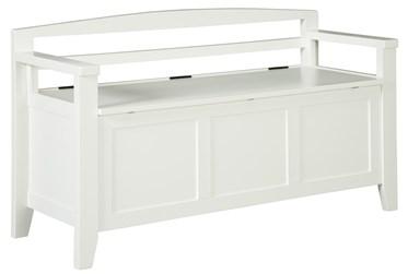 White Wash Storage Bench