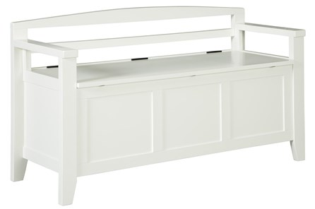 White Wash Storage Bench - Main