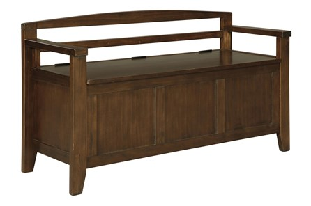 Dark Brown Storage Bench - Main