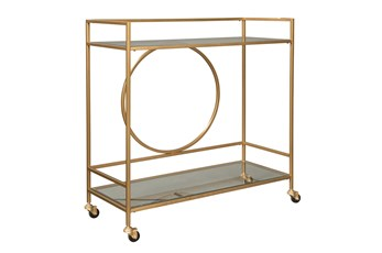 Gold Finish Circle Back Bar Cart
