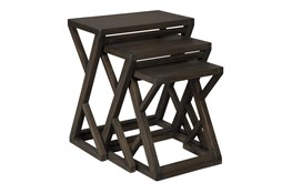 Brown + Metal 3 Pc Nesting Table