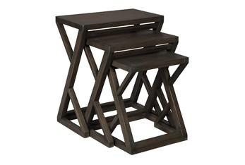 Brown + Metal 3 Pc Nesting Table