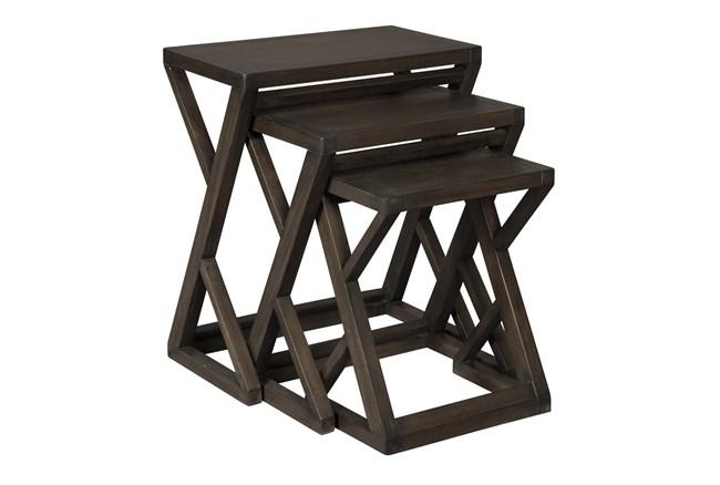 Brown + Metal 3 Pc Nesting Table  - 360